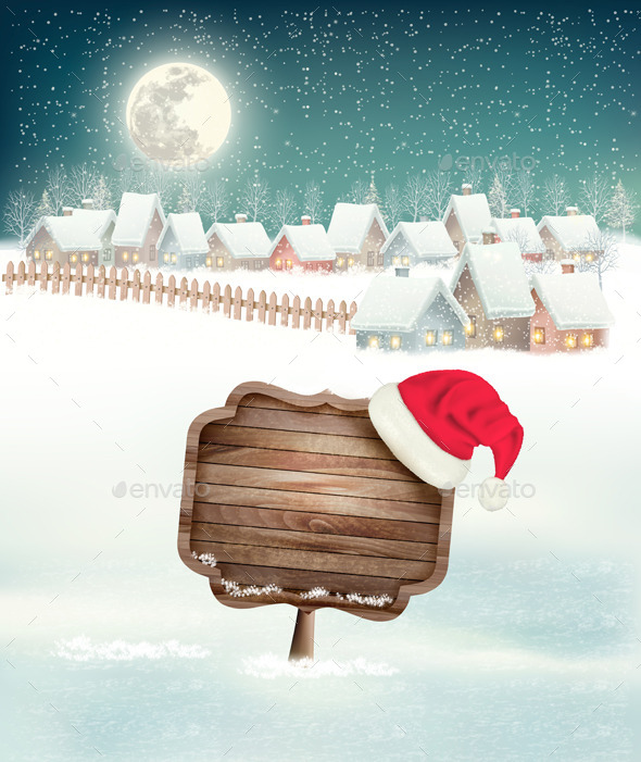 Winter Holiday Christmas Background with a Village - Christmas Seasons/Holidays