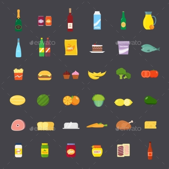 Flat Style Food and Beverages Icon Set - Food Objects