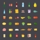 Flat Style Food and Beverages Icon Set - GraphicRiver Item for Sale