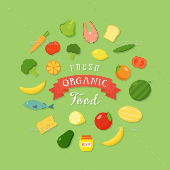 Fresh Organic Food Flat Style Icon Set - Food Objects