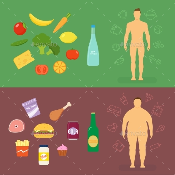 Healthy Lifestyle Flat Vector Card or Infographic  - Health/Medicine Conceptual
