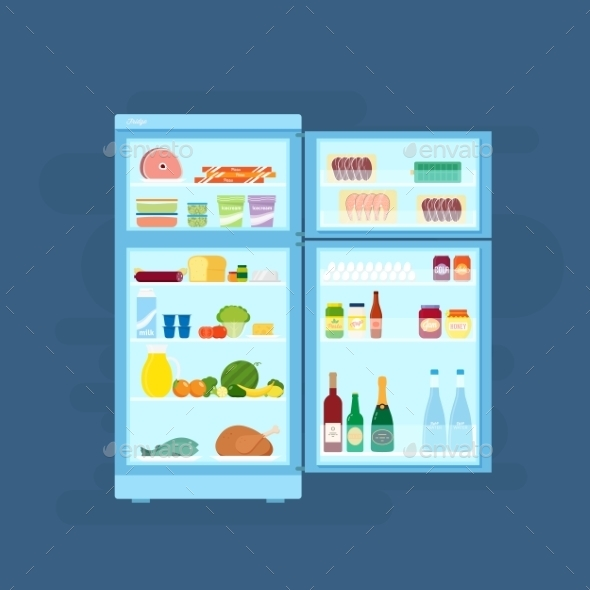 Refrigerator with Food Icons Flat Style - Food Objects