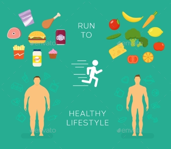 Running to Healthy Lifestyle Flat Card - Sports/Activity Conceptual