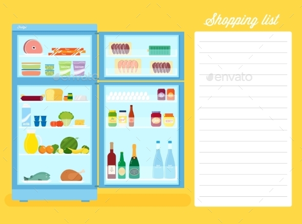 Shopping List Flat Style Refrigerator Illustration - Food Objects