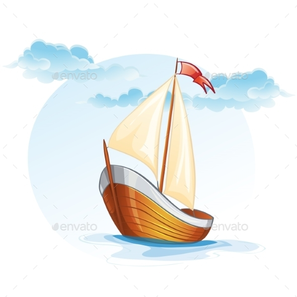 Cartoon Image of a Wooden Sailing Boat - Travel Conceptual