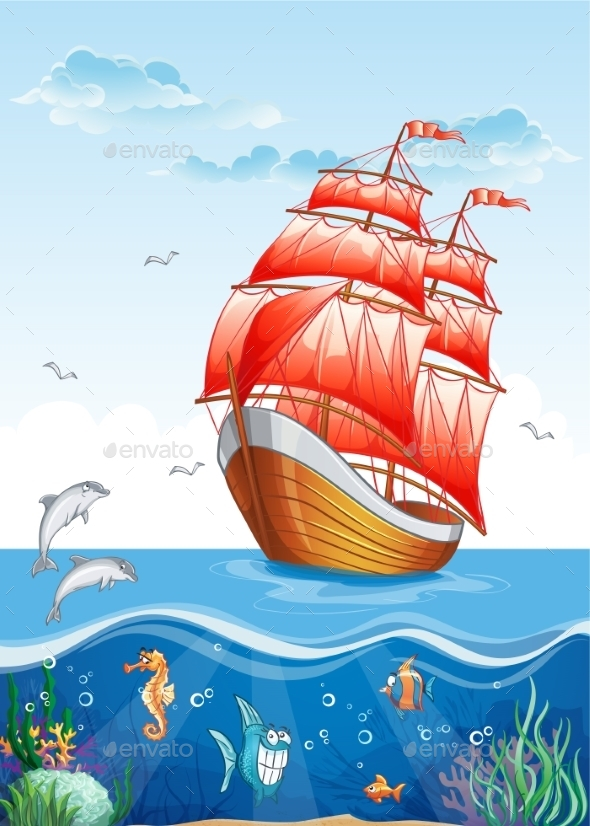 Children's Illustration of a Sailboat with Red Sail - Landscapes Nature