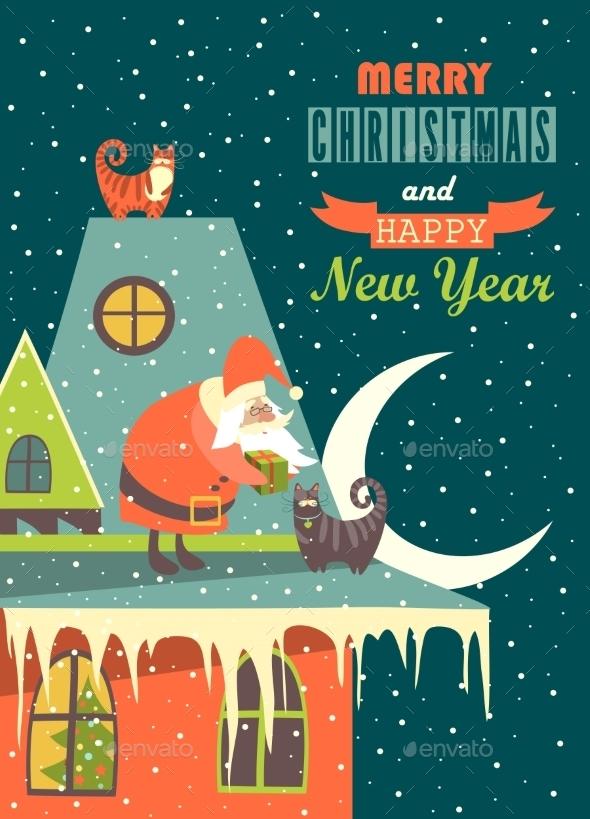 Santa Claus Gives Christmas Gift to a Cat - Christmas Seasons/Holidays