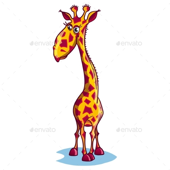Image of a Sad Cartoon Giraffe - Animals Characters