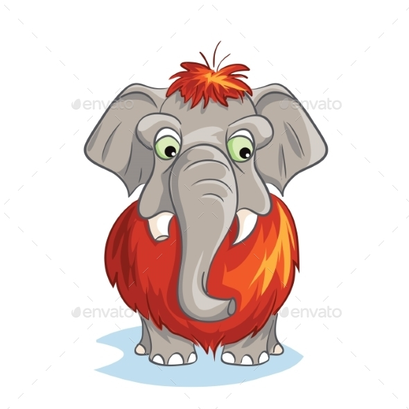 Cartoon Image of a Baby Mammoth - Animals Characters