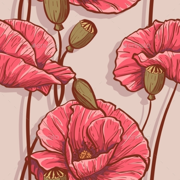 Seamless Background with Flowers Poppies - Backgrounds Decorative