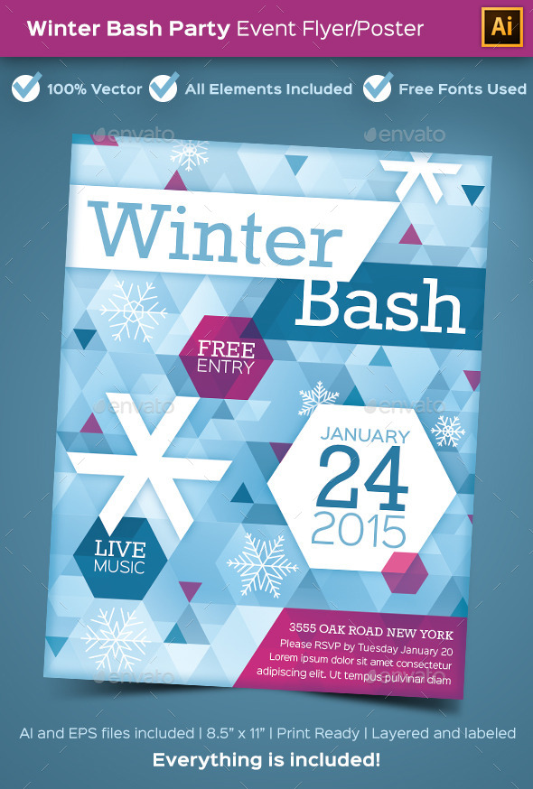 Winter Bash Party Poster or Flyer - Holidays Events