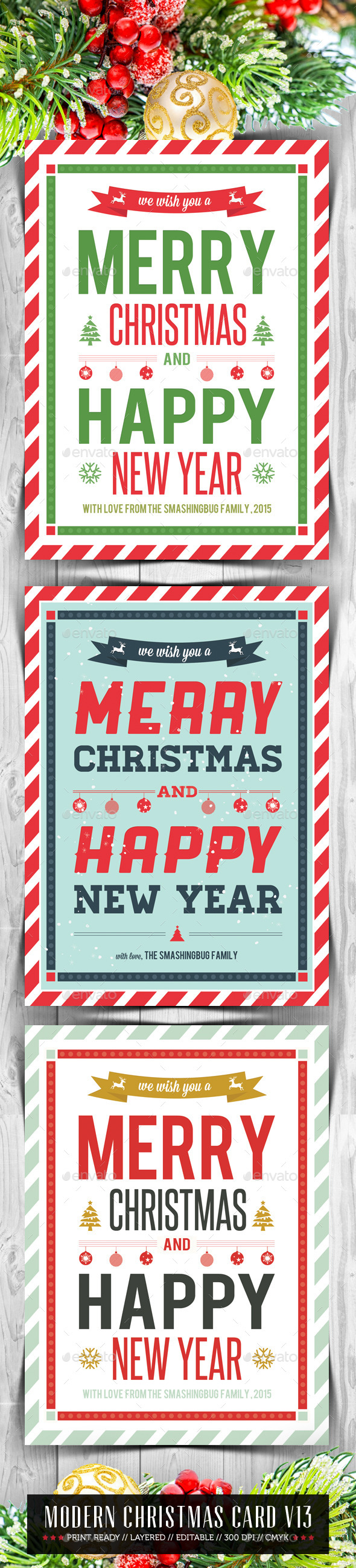 Modern Christmas Card V13 - Holiday Greeting Cards
