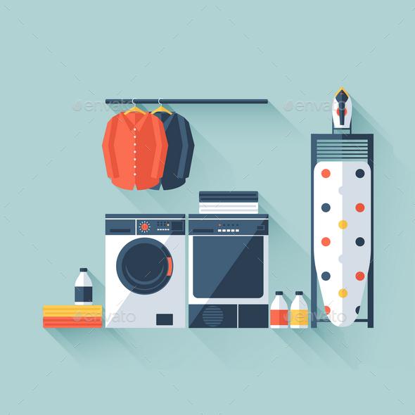 Laundry Room - Objects Vectors