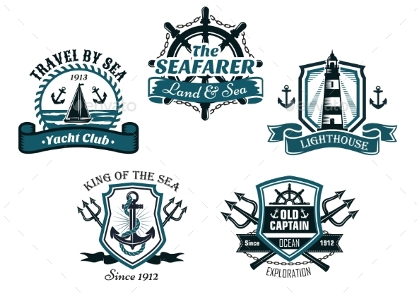 Nautical Various Heraldic Icons Designs - Conceptual Vectors