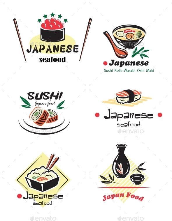 Colored Japanese Seafood Set - Food Objects