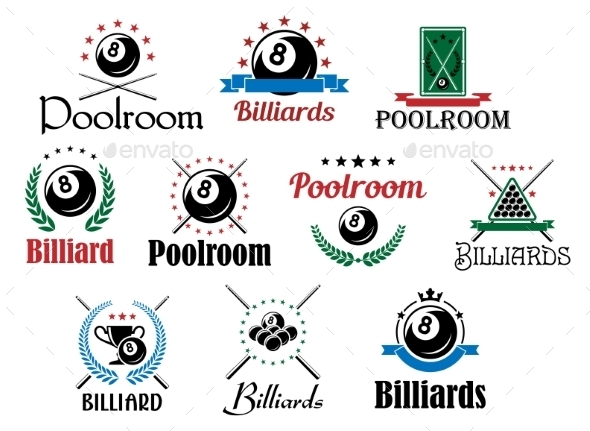 Billiard Emblems - Sports/Activity Conceptual