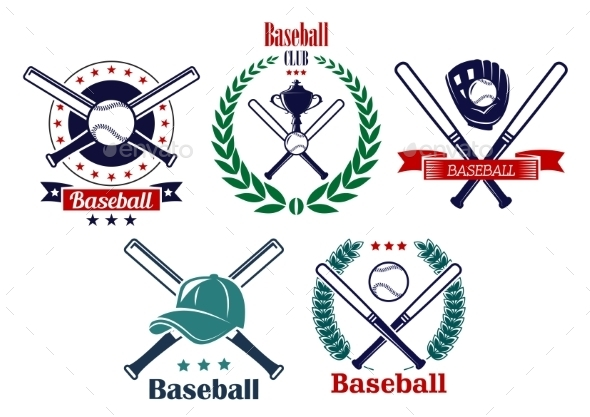 Baseball Sporting Heraldic Emblems - Sports/Activity Conceptual