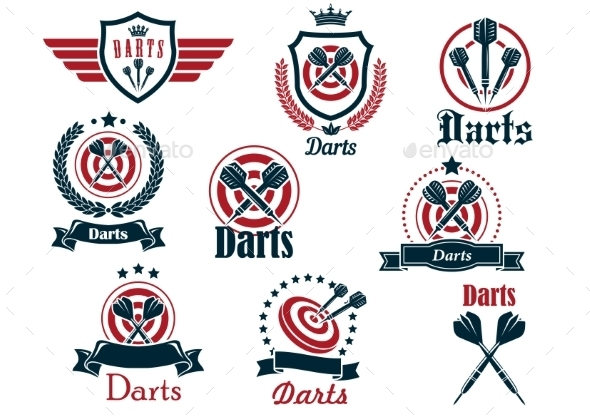 Darts Sporting Emblems - Sports/Activity Conceptual