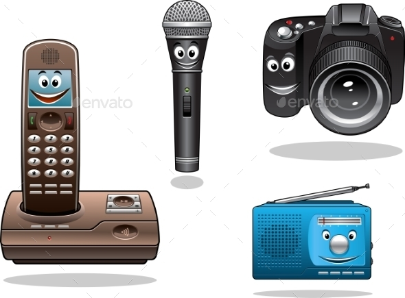 Gadgets and Devices in Cartoon Style - Miscellaneous Characters