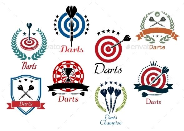 Darts Sporting Emblems - Sports/Activity Conceptual