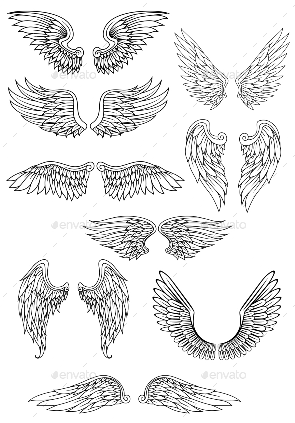 Angel Wings - Tattoos Vectors