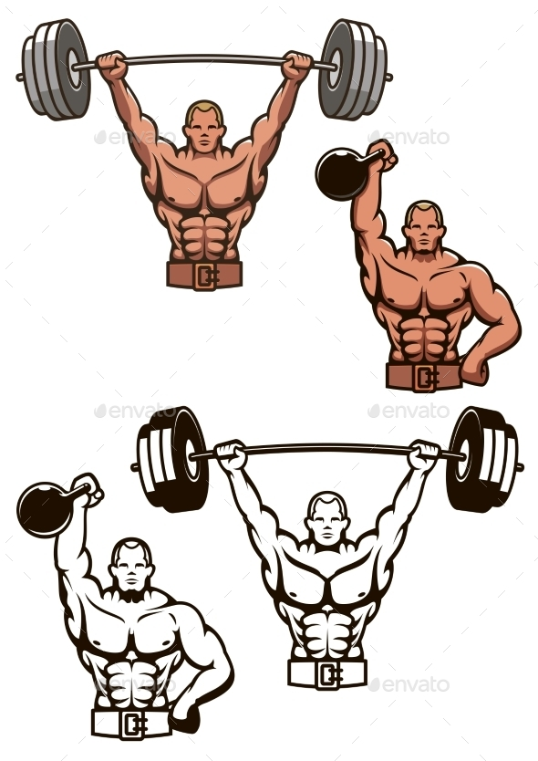 Bodybuilder Lifting Weights - Sports/Activity Conceptual