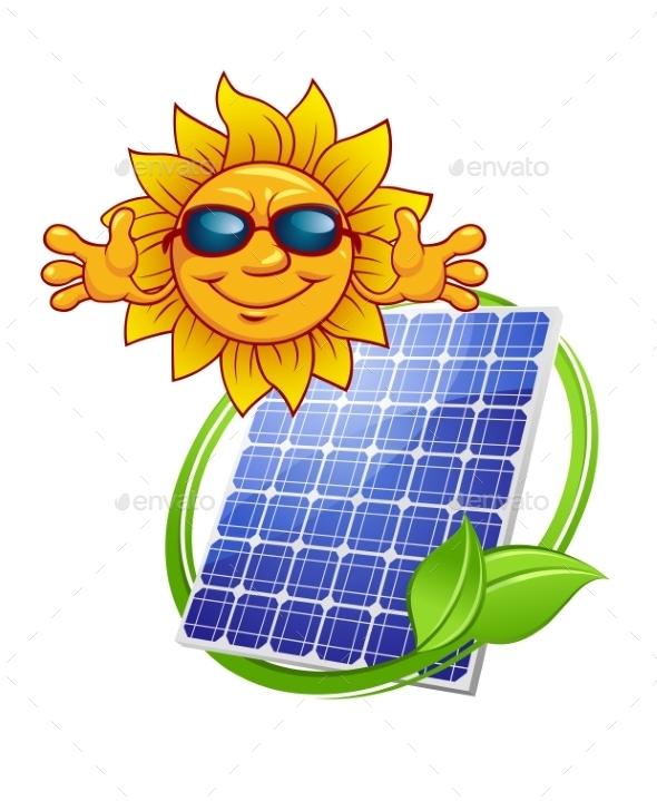 Solar Panel with Cartoon Sun - Conceptual Vectors