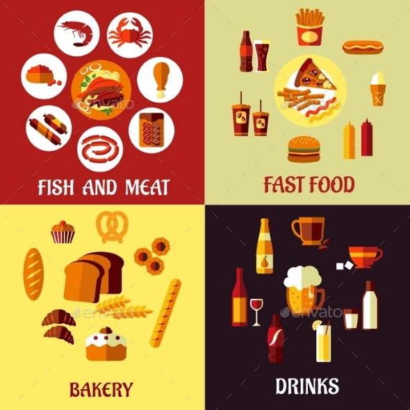 Assorted Flat Food Icons - Food Objects