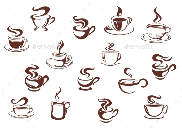 Assorted brown cups of hot coffee - Food Objects