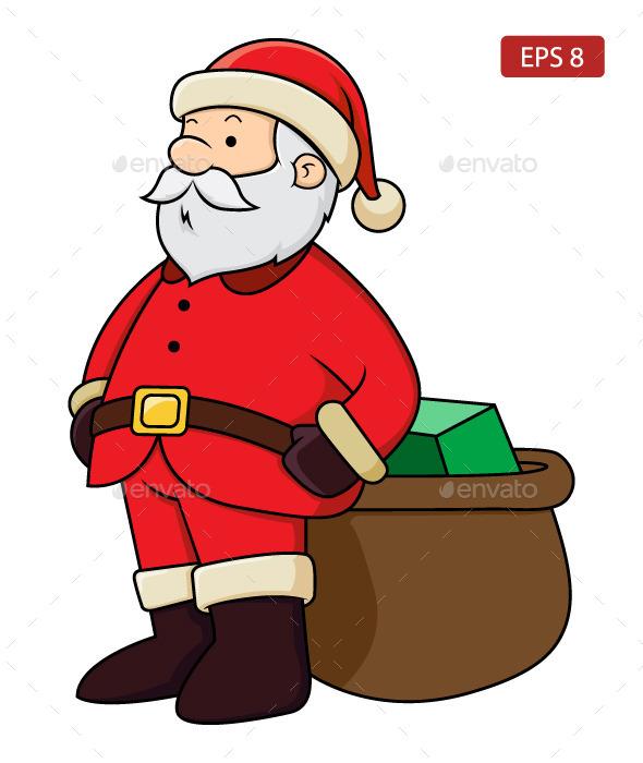 Santa Claus with Present - Christmas Seasons/Holidays