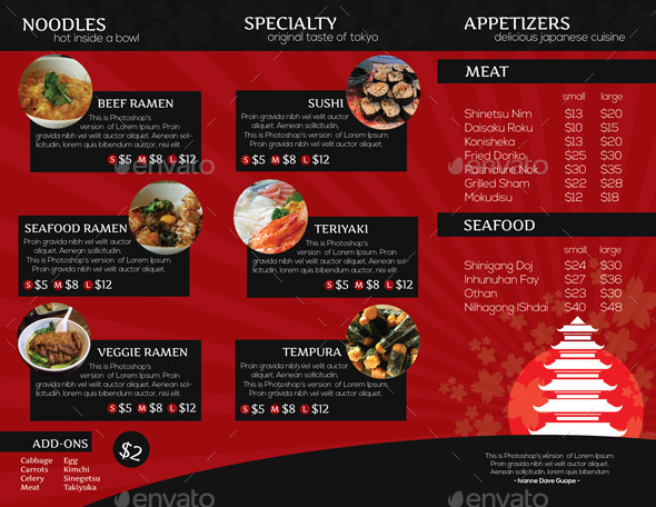 japanese restaurant brochure trifold by isshiah graphicriver