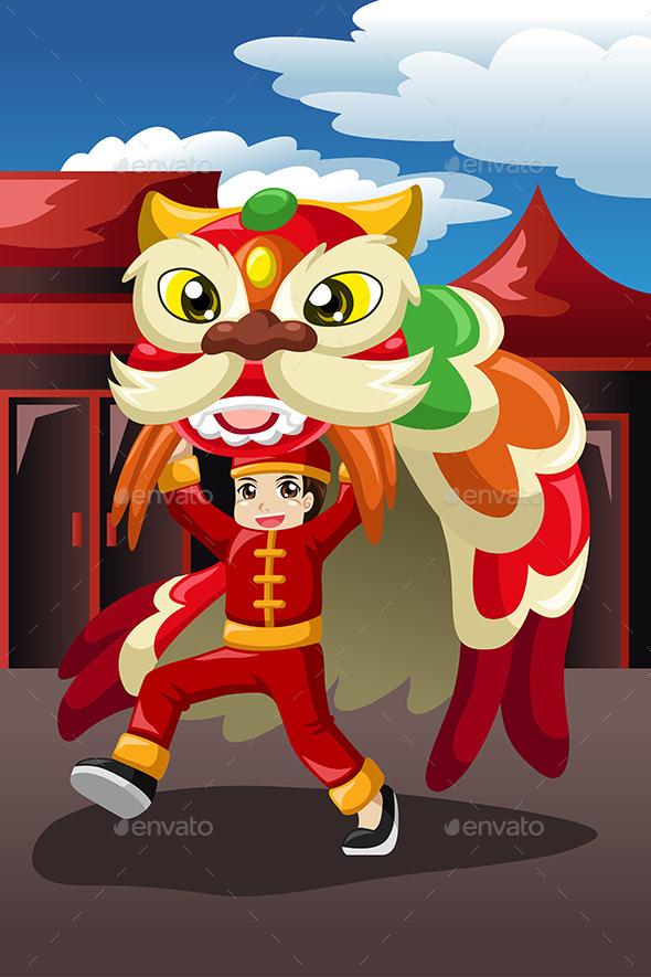Boy Doing a Lion Dance - Seasons/Holidays Conceptual