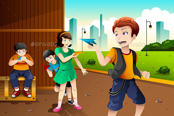 Kids Playing Paper Plane - Sports/Activity Conceptual