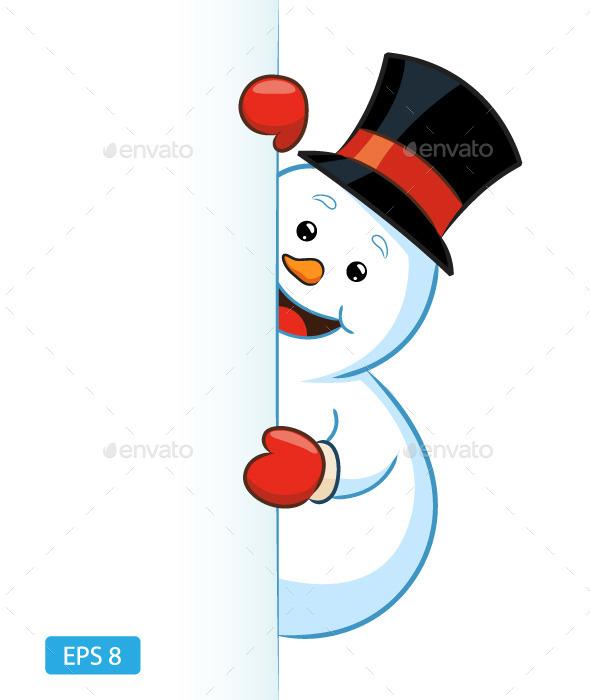 Snowman Peeking - Christmas Seasons/Holidays
