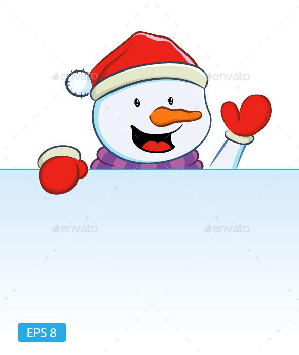 Snowman with Blank Sign - Christmas Seasons/Holidays