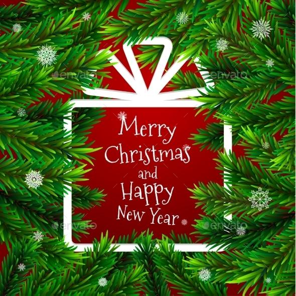 Christmas Tree with Frame in Shape of Gift - Christmas Seasons/Holidays