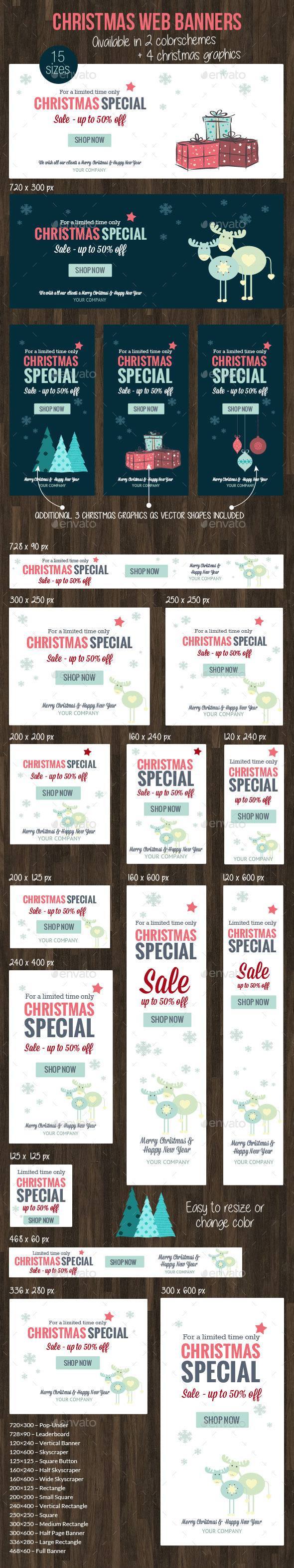 Christmas Web Banner 2015 - Banners & Ads Web Elements