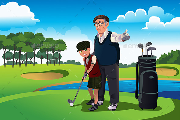 Grandfather Teaching his Grandson Playing Golf - Sports/Activity Conceptual