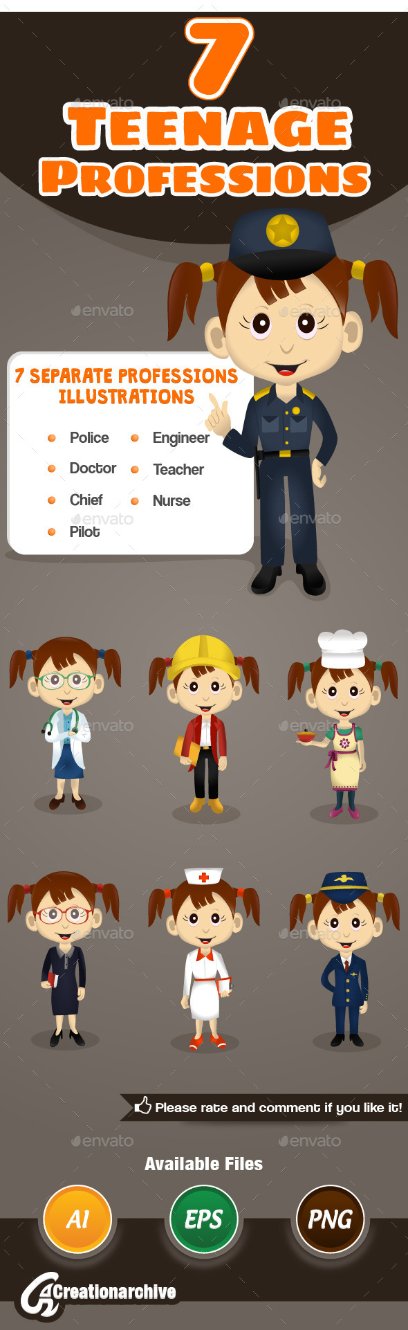 7 Teenage Professions - Characters Vectors