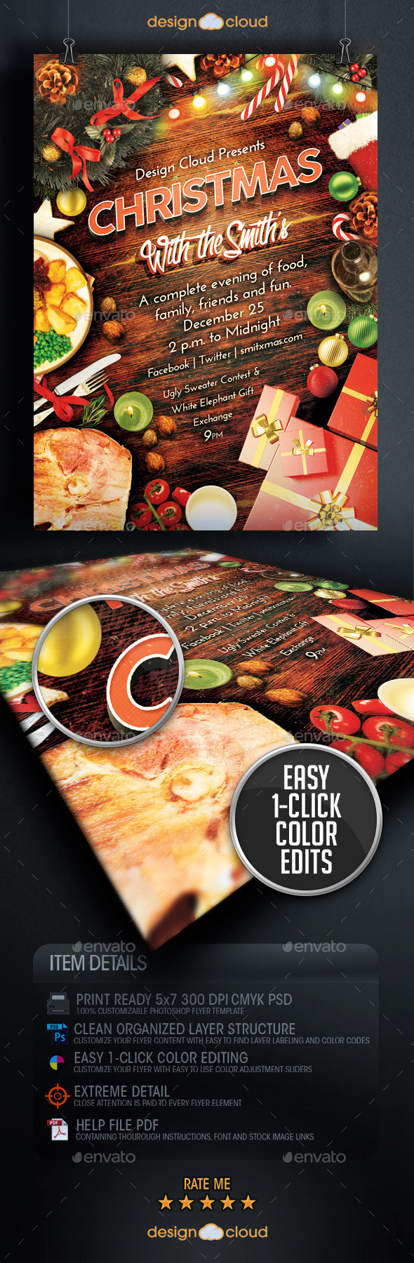 Christmas Family Dinner and Party Flyer Template - Holidays Events