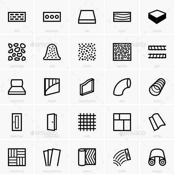 Building Materials Icons - Patterns Decorative