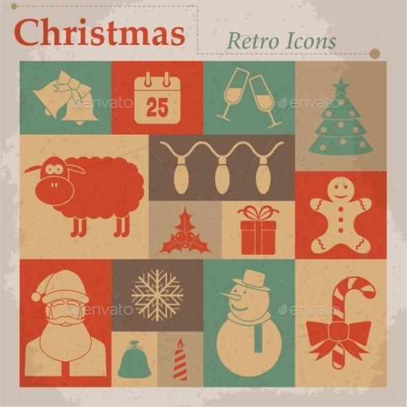 Christmas Vector Retro Icons - Christmas Seasons/Holidays