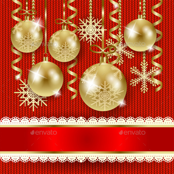 Christmas Illustration with Baubles in Gold - Christmas Seasons/Holidays