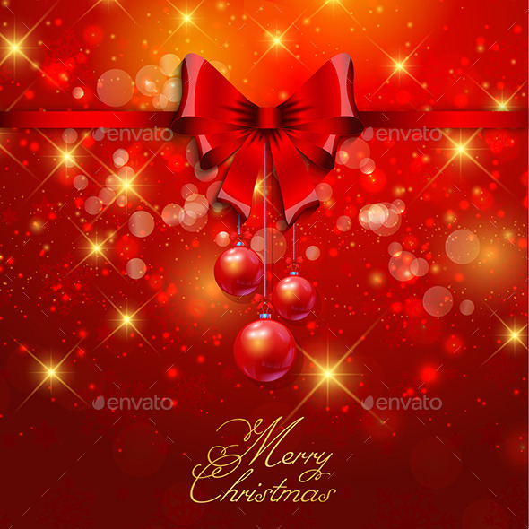 Christmas Background with Red Ribbon - Christmas Seasons/Holidays