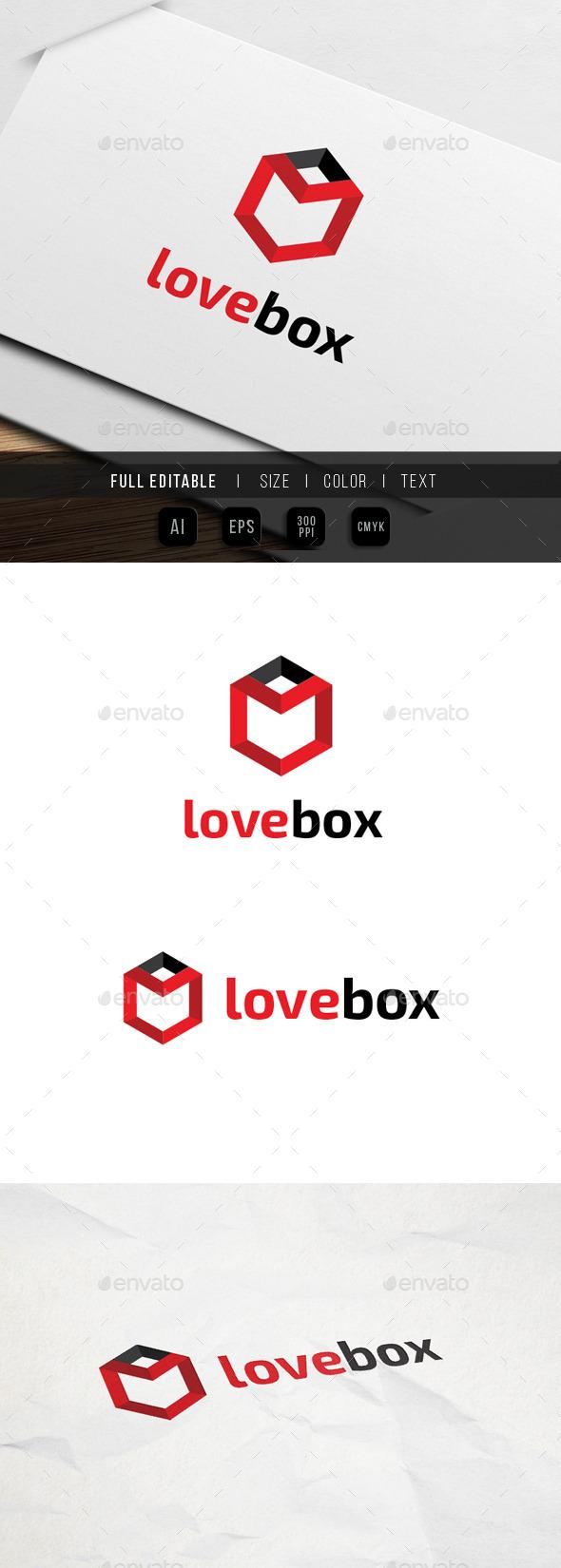 Love Box - hexagon Logo - Objects Logo Templates