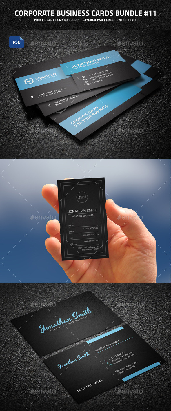 Corporate Business Cards Bundle #11 - Corporate Business Cards
