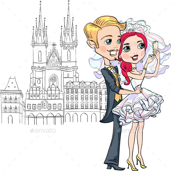 Vector Bride and Groom make Selfie in Prague - People Characters