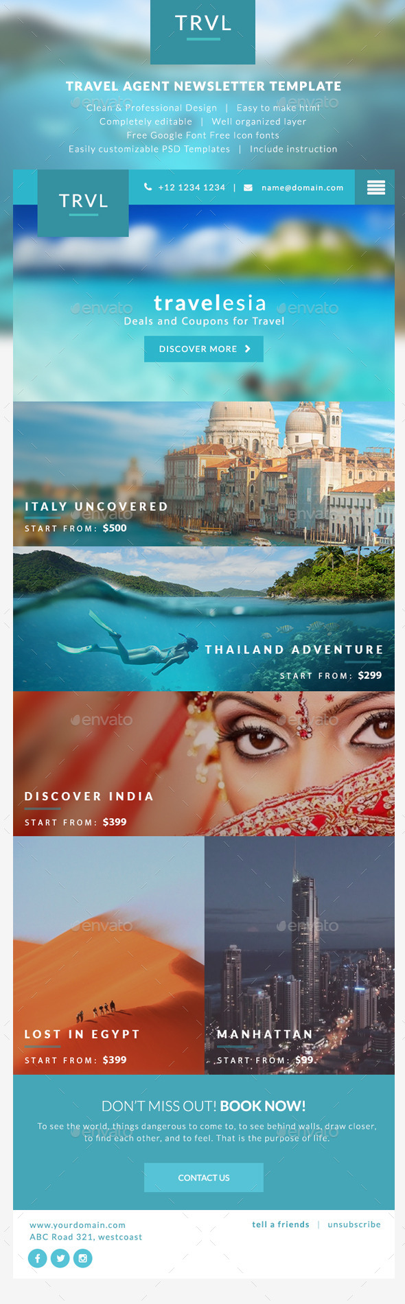 Travel Agent Newsletter Templates - Travelesia - E-newsletters Web Elements