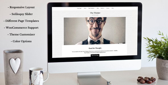 The Thinker - Simple Blogging WordPress Theme - Personal Blog / Magazine