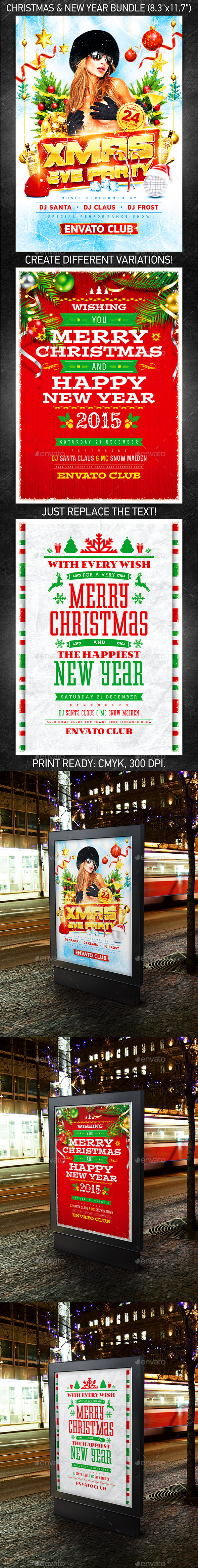 Christmas & New Year Poster Bundle - Holidays Events